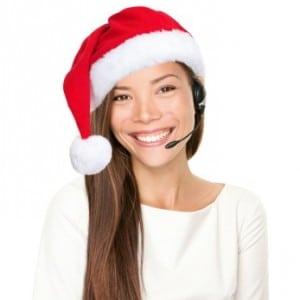Christmas headset woman