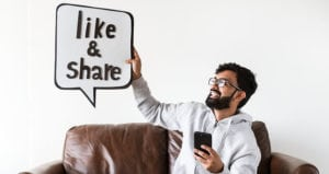 social media man with like sign feature