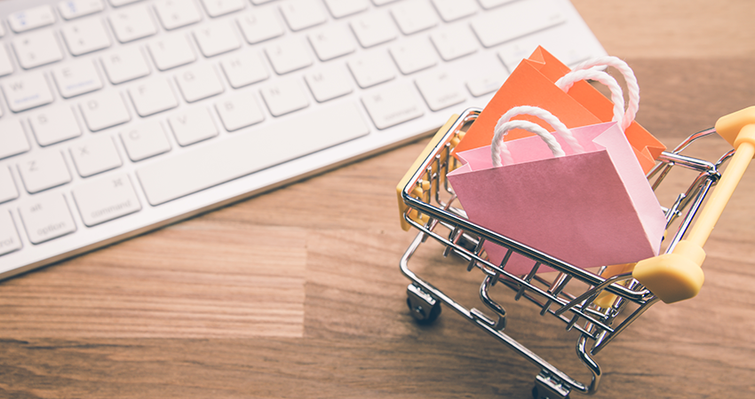 ecommerce marketplaces illustration cart and keyboard feature