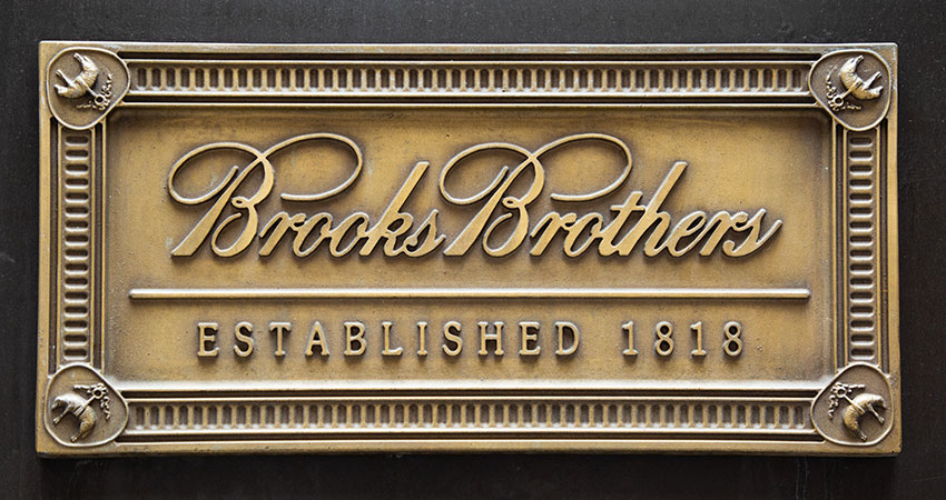 brooks brothers brass plaque