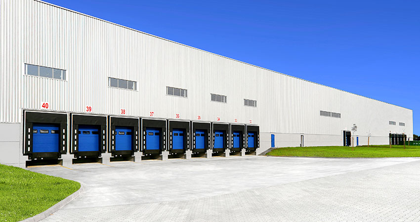 warehouse with loading docks exterior