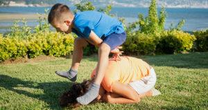kids playing leapfrog
