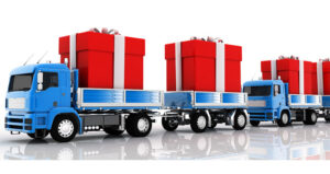 flatbed truck with gift boxes feature
