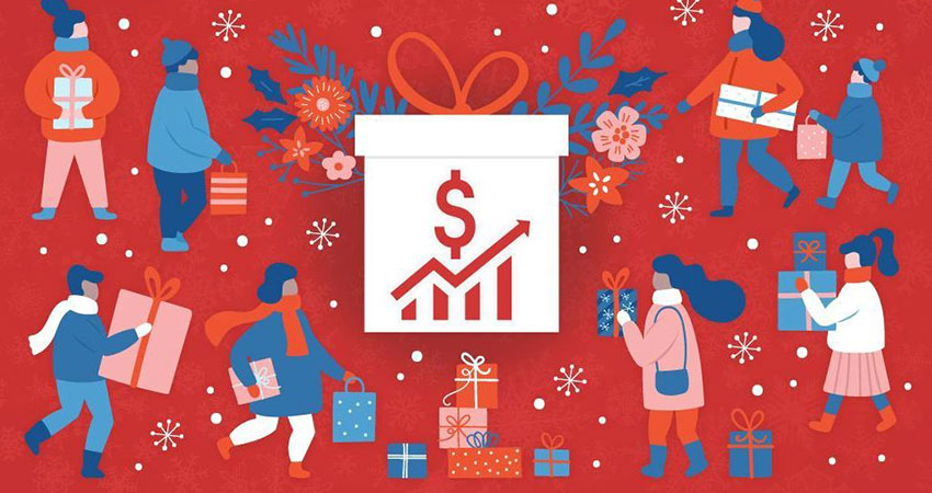 holiday illustration box and shoppers feature