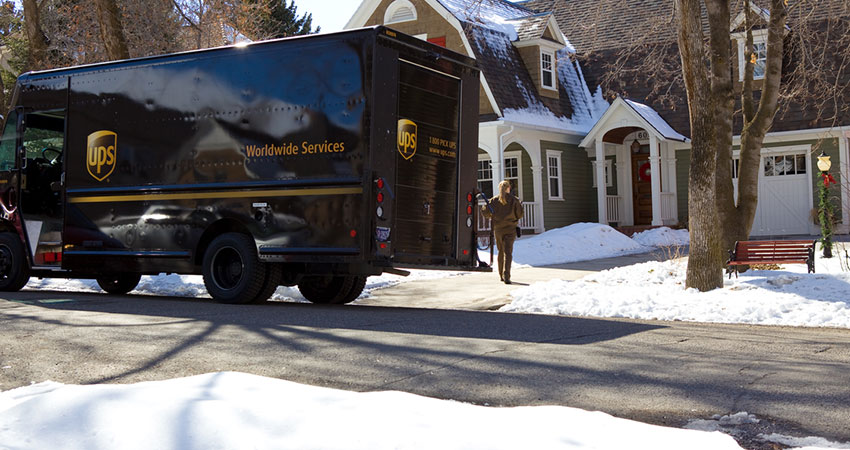 UPS van in snow holiday peak season feature