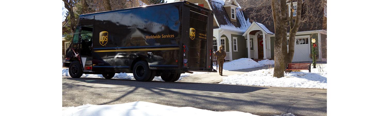 UPS van in snow hero