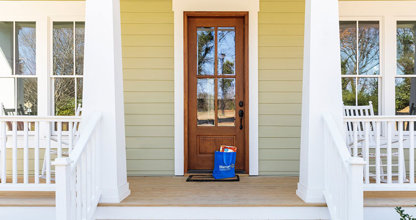 walmart express bag on porch feature