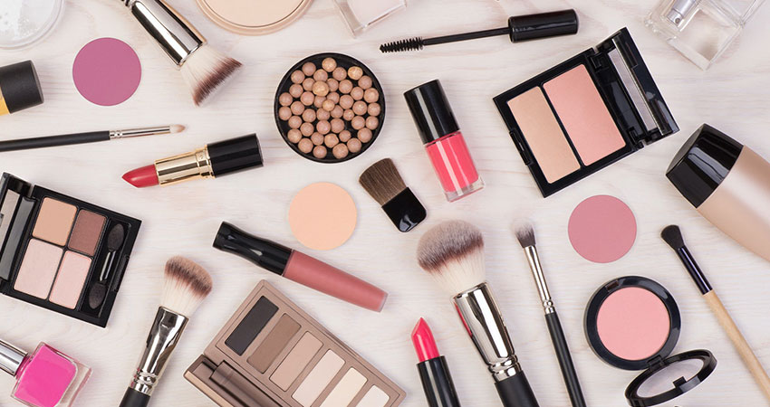 beauty products strewn